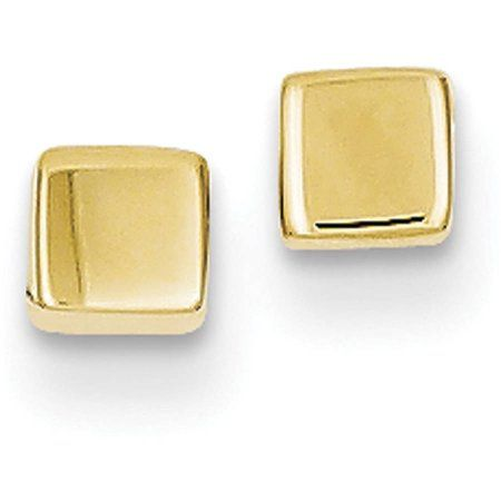 Jewelry Gift Boxes Walmart Delectable 14Kt Yellow Gold Polished Square Post Earrings Women's  Gold Design Decoration