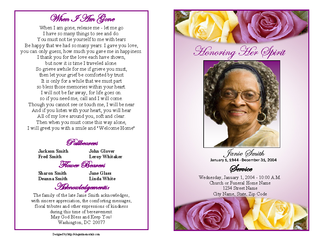 memorial service programs sample | Choose from a variety of cover ...