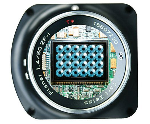 Raytrix Plenoptic Camera. Plenoptic cameras have an array of micro-lenses on top of the image sensor; the R11 has 40,000. As light travels through those lenses, it fractures into 40,000 separate image fragments. Computer software decodes the files to compose a final image; adjusting the focus is as simple as moving an onscreen slider to tweak the depth of field. Photographers can also view two slightly different angles to create stereoscopic 3-D stills and video.
