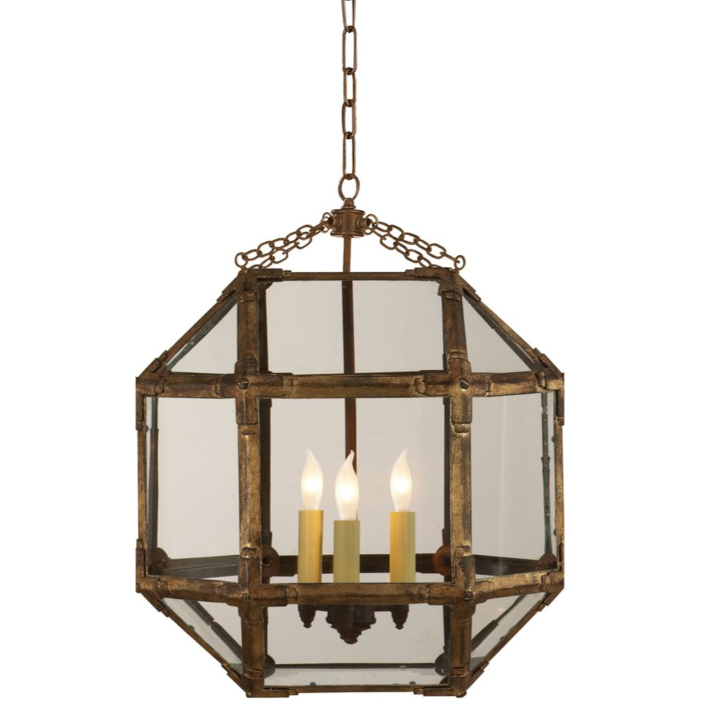 Visual Comfort Suzanne Kasler Morris Medium Lantern In Gilded Iron Finish With Clear Glass Sk5009 Visual Comfort Ceiling Pendant Lights Visual Comfort Lighting