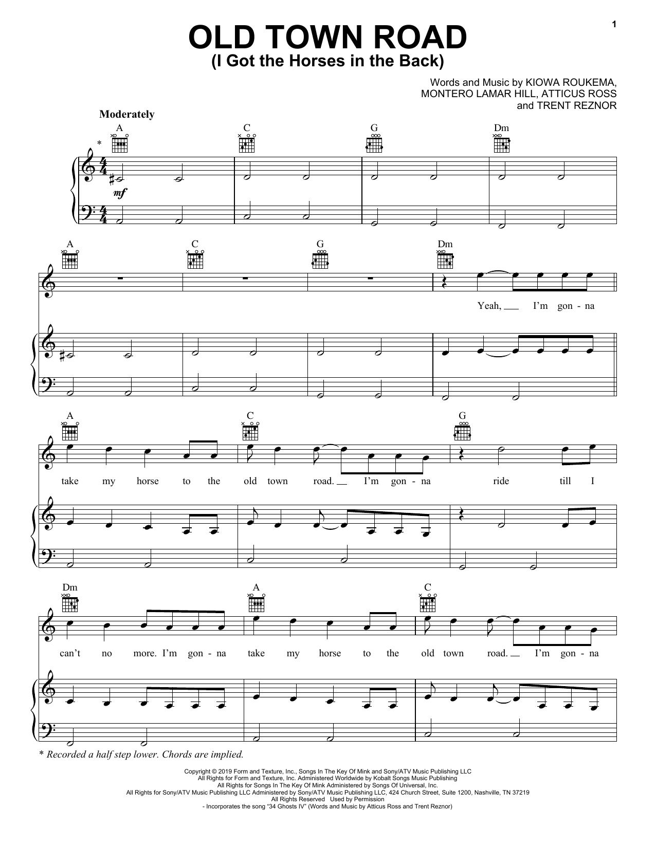 Lil Nas X 'Old Town Road (I Got The Horses In The Back)' Sheet Music, Notes & Chords
