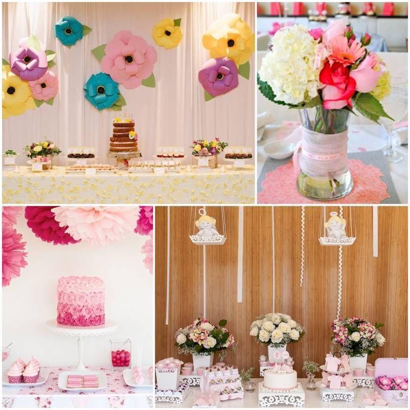 Decoracion de baby shower con flores celebraciones for Decoracion con plantas