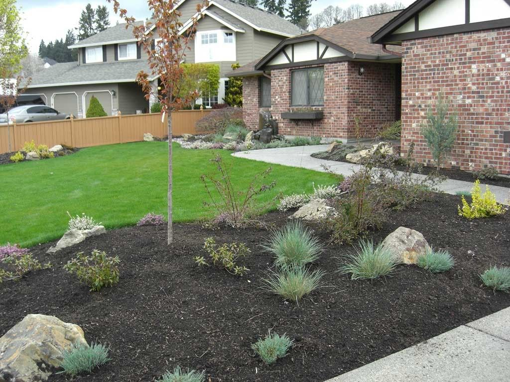 Nature front yard landscaping ideas low water picture for Front lawn landscaping