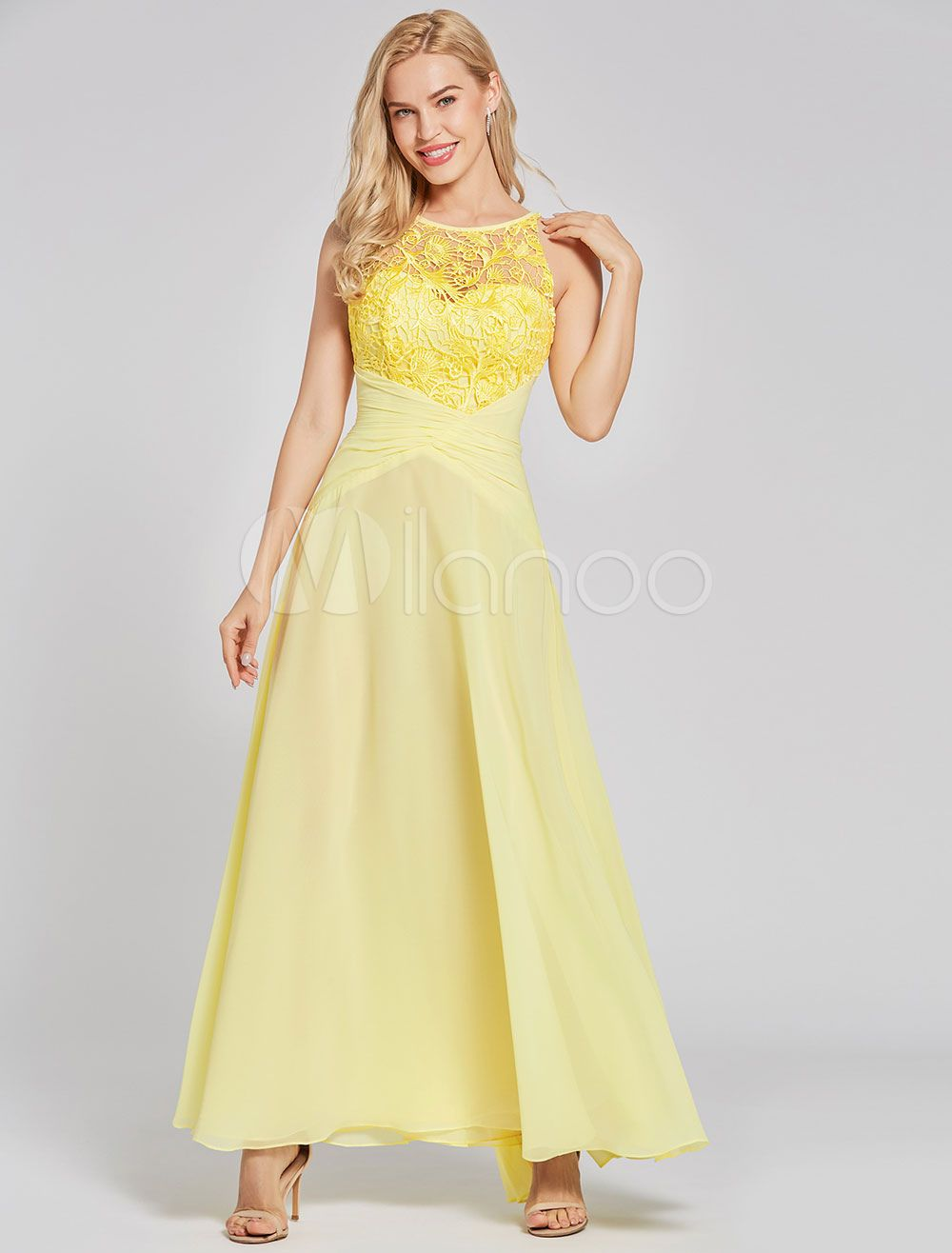 6ae81acbb Prom Dresses Long Yellow Chiffon Lace Backless Floor Length Party Dress   Yellow
