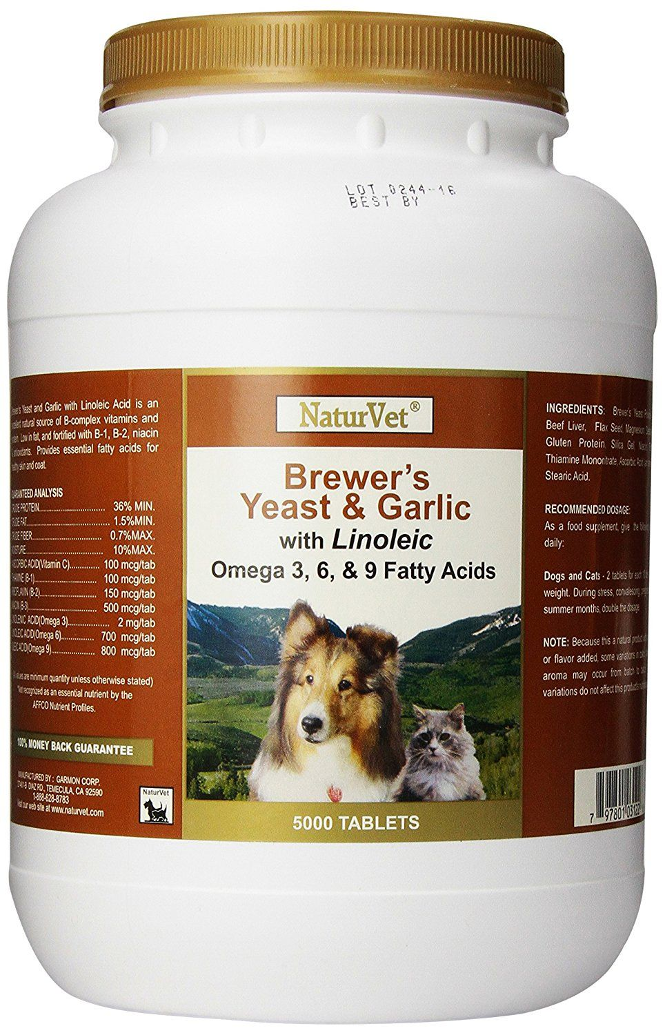 Naturvet Brewers Dried Yeast With Garlic Omega 3 And 6 Dogs And Cats Choose Size You Can Get More Details Here This Brewers Yeast Dry Yeast Dog Dental Care