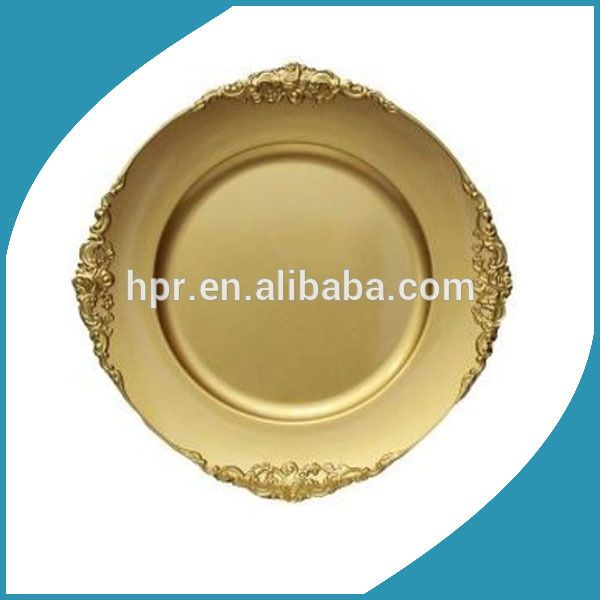 Whole Plastic Disposable Gold Wedding Charger Plate