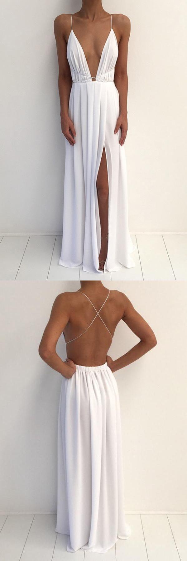Classy simple aline deep vneck long white chiffon prom dresses
