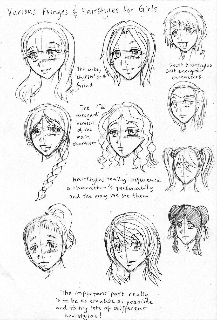 draw manga girl hairstyles