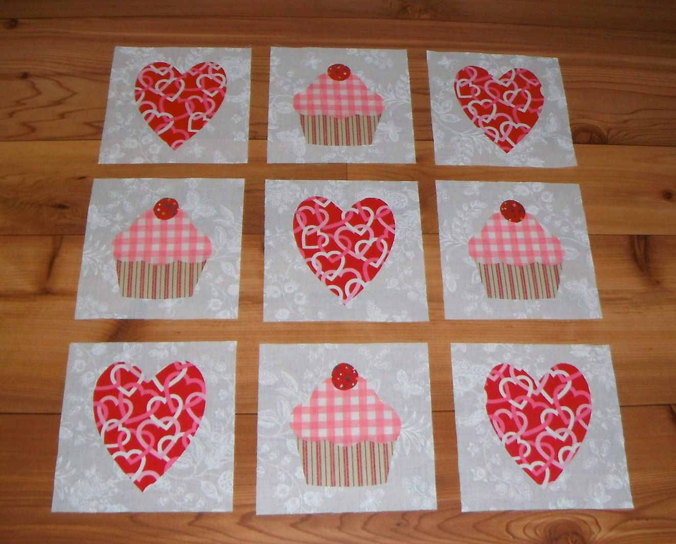 Set of 9 shabby pink cupcakes and valentine hearts quilt blocks