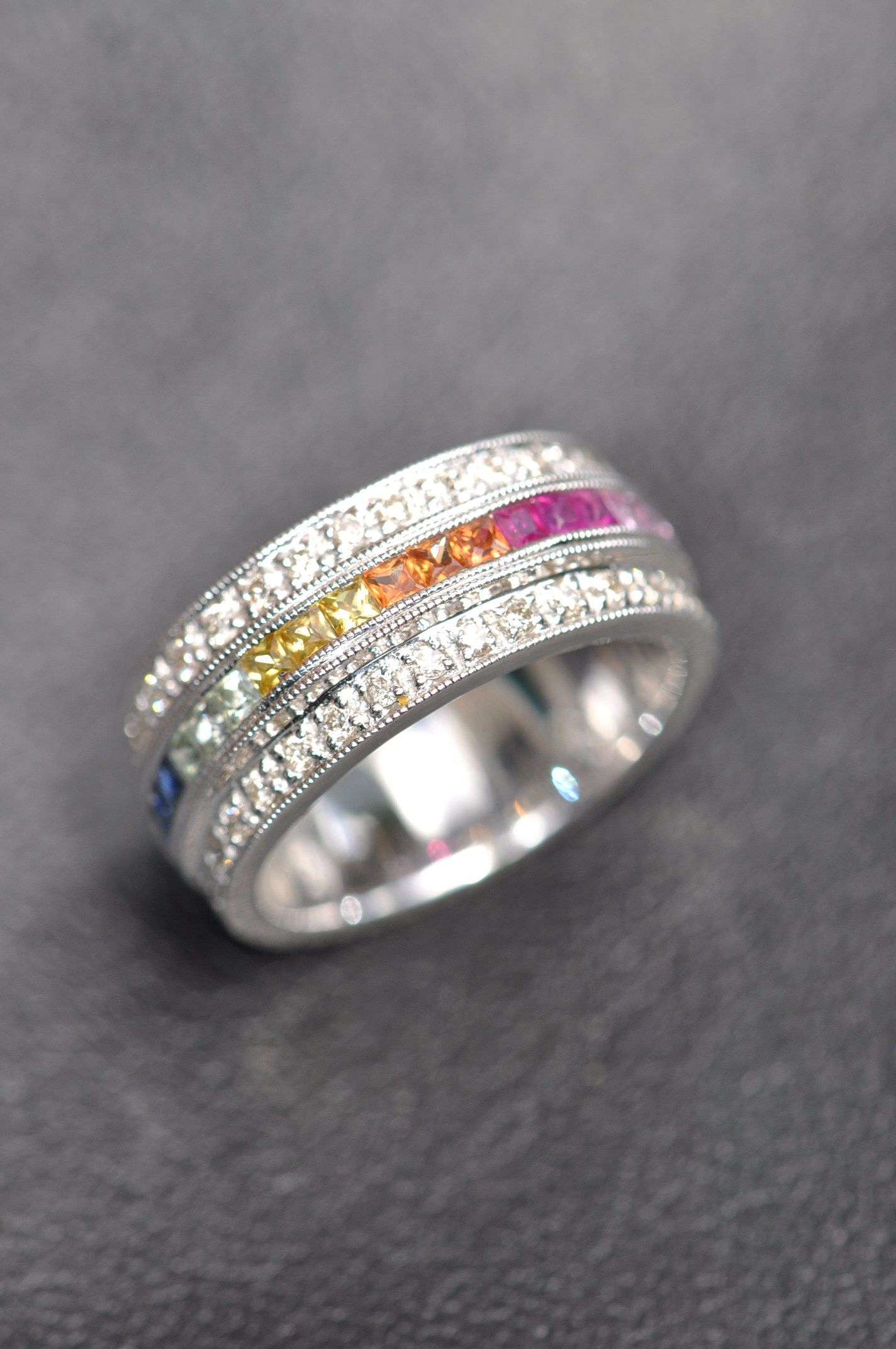 14Kt Whitegold Rainbow Ring Diamonds & Precious Colored Stones