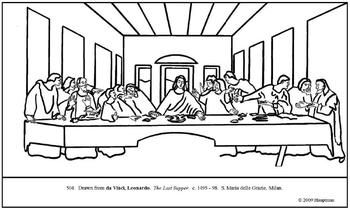 da Vinci. The Last Supper. Coloring page and lesson plan ideas Da Vinci Last Supper Coloring Pages