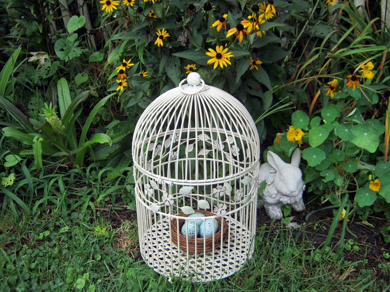 birdcage Vintage WIRE DOME BIRDCAGE Creamy White WEDDiNG Metal ...