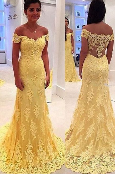1d3fda796538 New Arrival Sheath Yellow Lace Prom Dress with Sweep Trian,Off Shoulder  Formal Dress ADP1720 #fashion #yellow promdress #sheath promdress  #off-shoulder ...