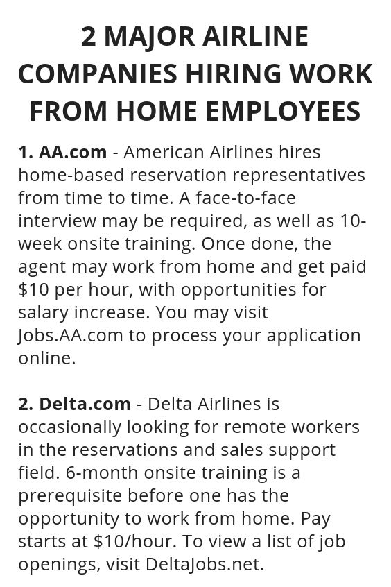 companies that hire work from home employees 2 major airline companies hiring work from home employees 2599