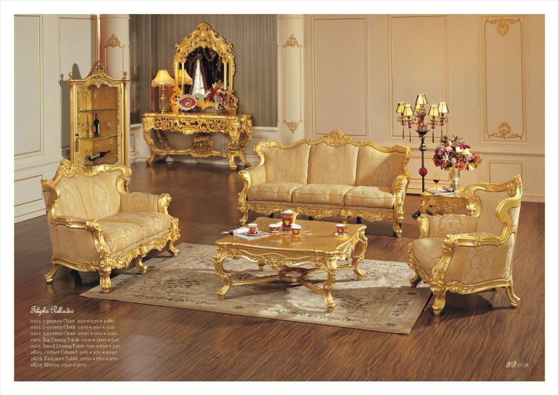 China Factory Wooden Carved Luxury European Sofa Set Living Room