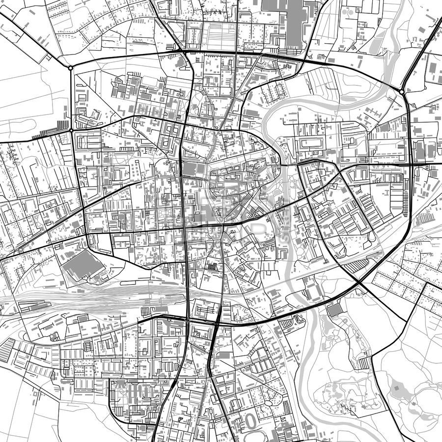 Cottbus Germany vector map with buildings Highway road Building