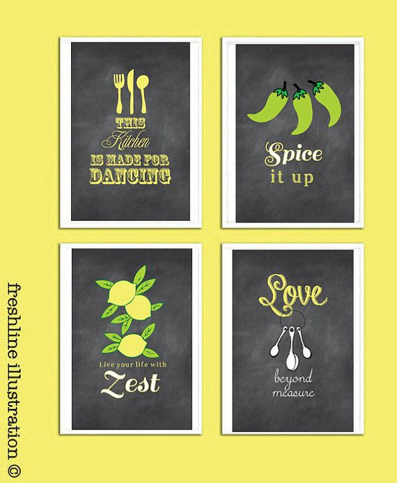 Chalkboard Inspired Kitchen Art Set, Funny Kitchen Signs