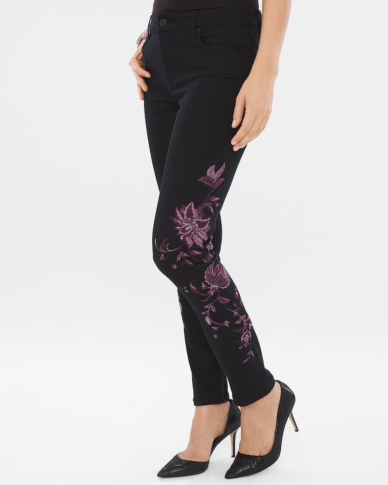 30951650b7afc Chico's Women's So Slimming Lavender-Embroidered Girlfriend Ankle Jeans