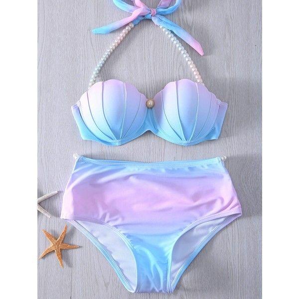 Halter Neck Tie Dye Pearl Embellished Bikini Set For Women (£13) ❤ liked on Polyvore featuring swimwear, bikinis, tie-dye swimwear, tie dye halter top, halter neck bikini, tie dye bikini and halter top bikini swimwear