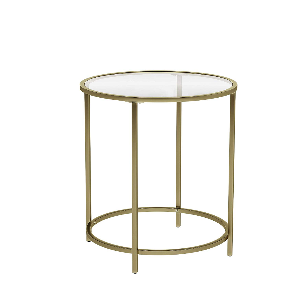 Amazon Com Vasagle Round Side Table Tempered Glass End Table With Golden Metal Frame Small Coffee Table Be Glass Top End Tables Side Table Glass End Tables [ 1000 x 1000 Pixel ]