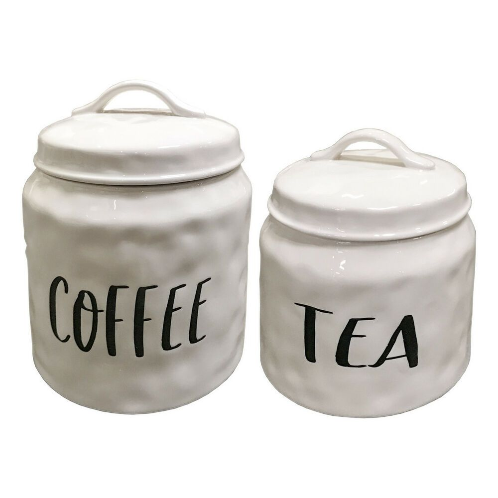 White Ceramic Coffee Tea Canister Set Of 2 Decorative Food