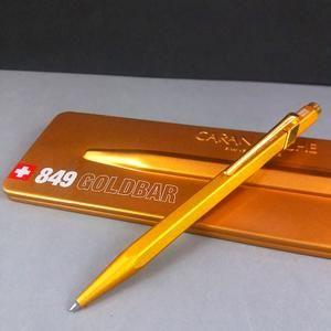 Caran Dache 849 Gold Bar Ball Point Pen Gold Pen Gift Set Ballpen In Metal Case