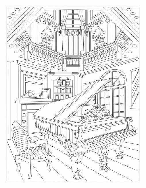 Interior music Music Coloring Pages for Adults Pinterest