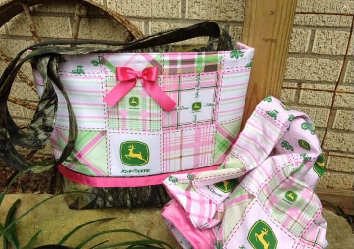 John Deere Diaper Bags : John deere diaper bag large tote and baby blanket hand