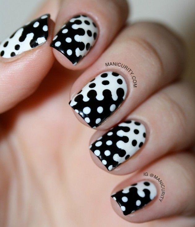 diseos de uas en blanco y negro manicure