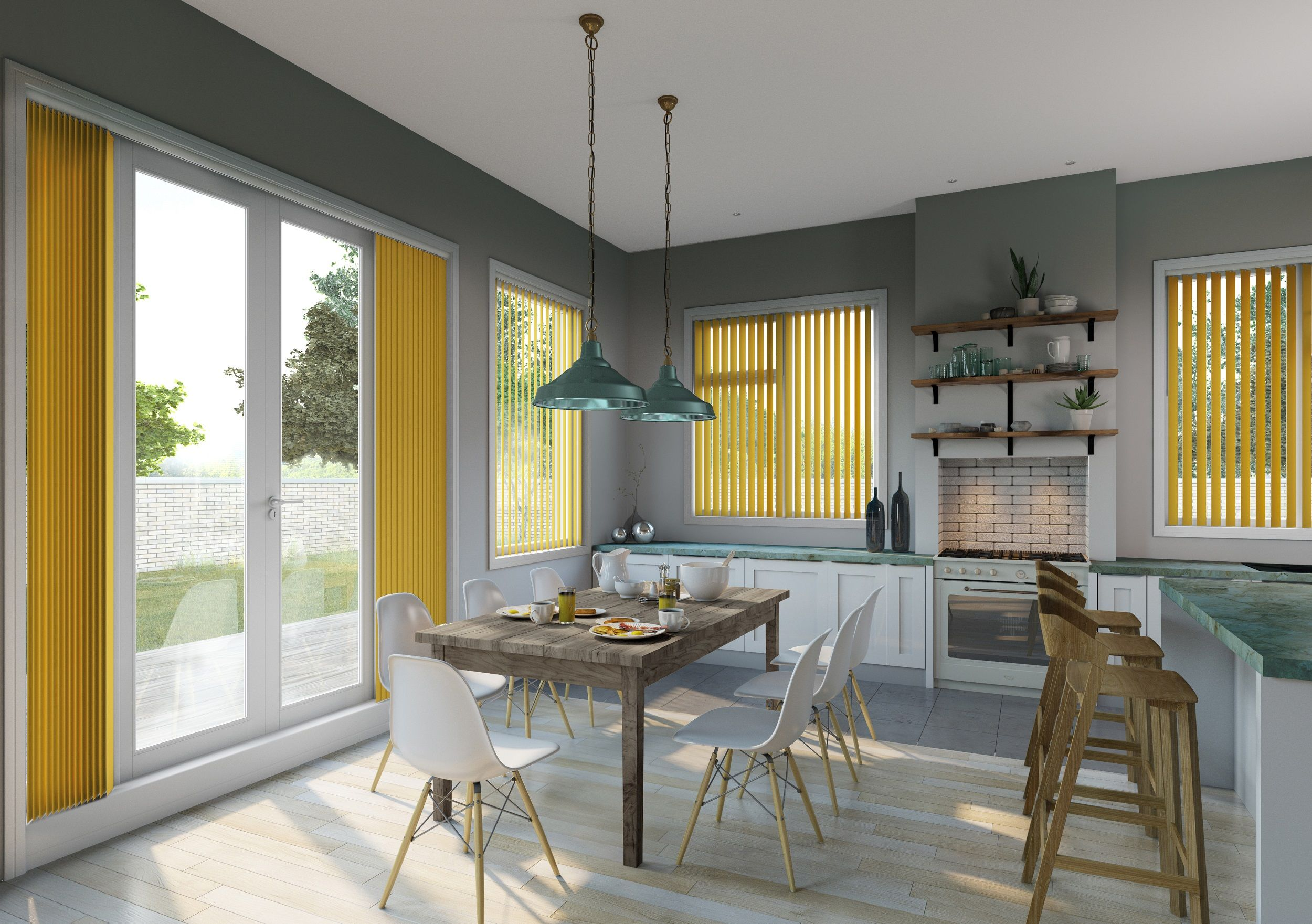 Pantone Colour Of The Year: Greenery. Modern Window Dressing. Vertical  Blinds. Kitchen Blinds. Contemporary Colour Inspiration For The Kitchen.