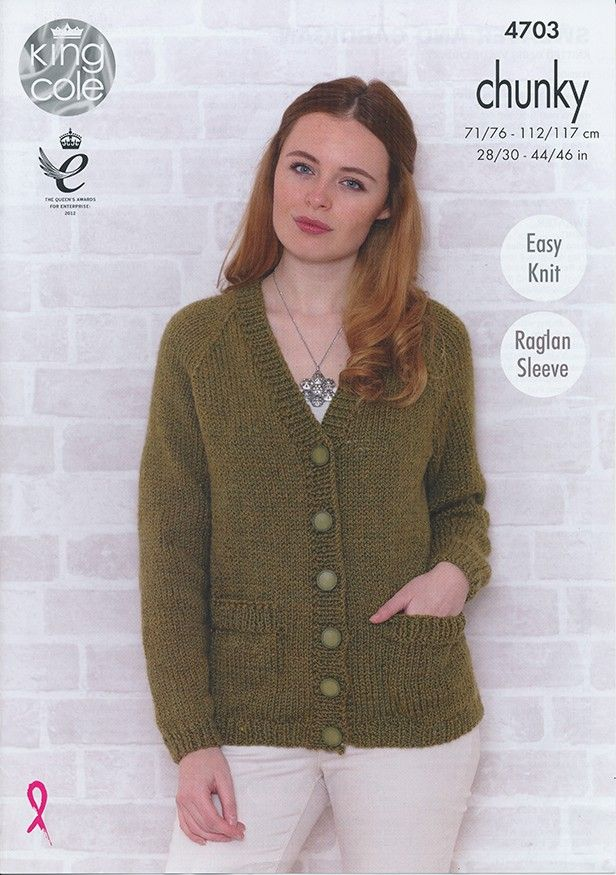 Sweater and Cardigan in King Cole Big Value Chunky (4703