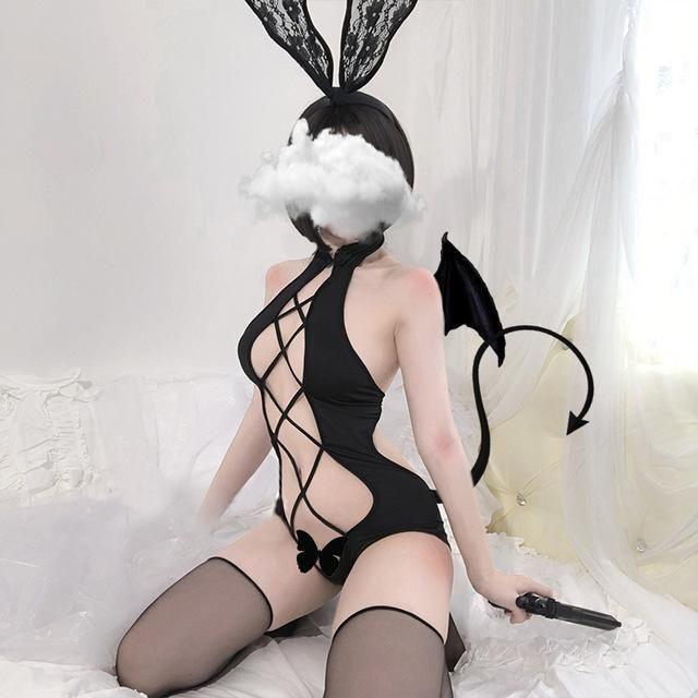 Photo of Sexy Women Anime Lingerie Babydoll Swimsuit Set Cute Lolita Underwear Cartoon Cosplay erotic Devil porno Costume Maid Bunny girl – black / One Size