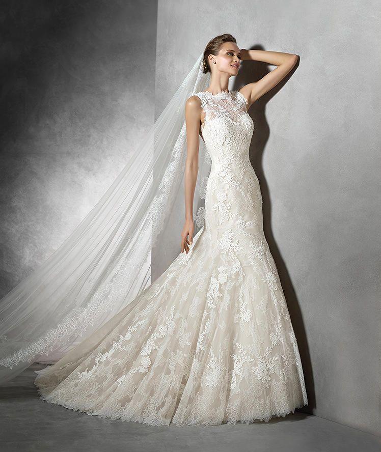 terence, vestido de novia de encaje y escote palabra de honor