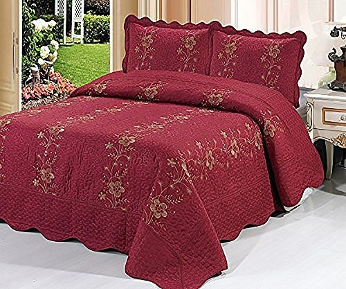 Homemusthaves-3 Piece Quilted Bedspread Burgundy Quilt Sham Floral ... : burgundy quilts - Adamdwight.com