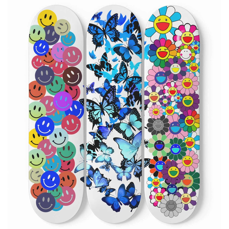 Smiley Faces Butterfly Murakami Skateboard Mural Wall Art Skate Deck Art Home Decor Interior Design Pop Art Decor In 2020 Painted Skateboard Skateboard Deck Art Skateboard Design