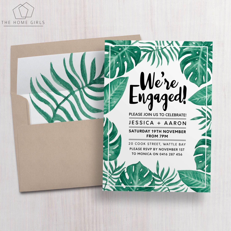 Printable Engagement Invitation Palm Leaf Editable With Cel Engagement Invitations Free Engagement Party Invitations Templates Engagement Party Invitations