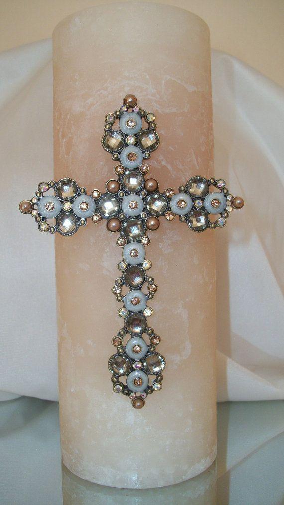 Beige Pillar Candle with Jewel Encrusted by ClassyCandlesbyMargi, $34.50