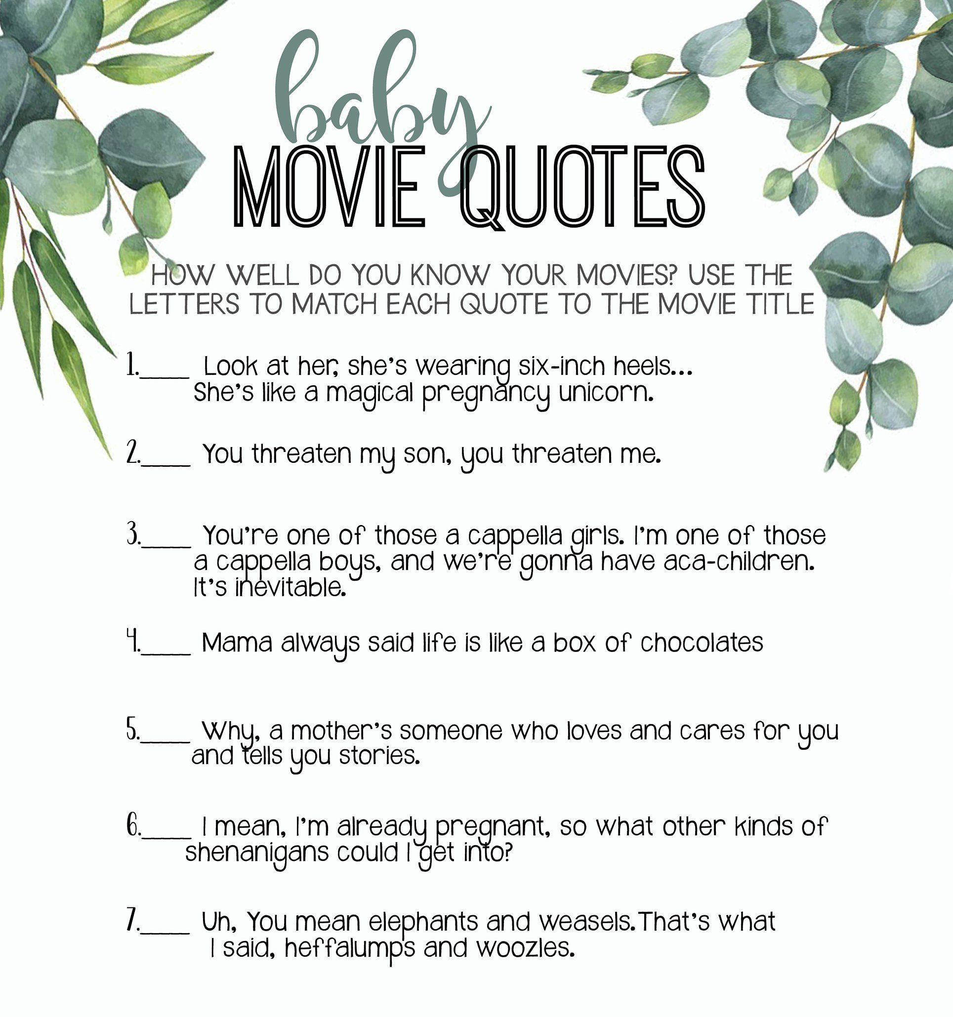 Baby Boy Movie Quote Game Baby Shower Game From The North Etsy Baby Boy Movie Quotes Baby Boy Movie Baby Shower Games
