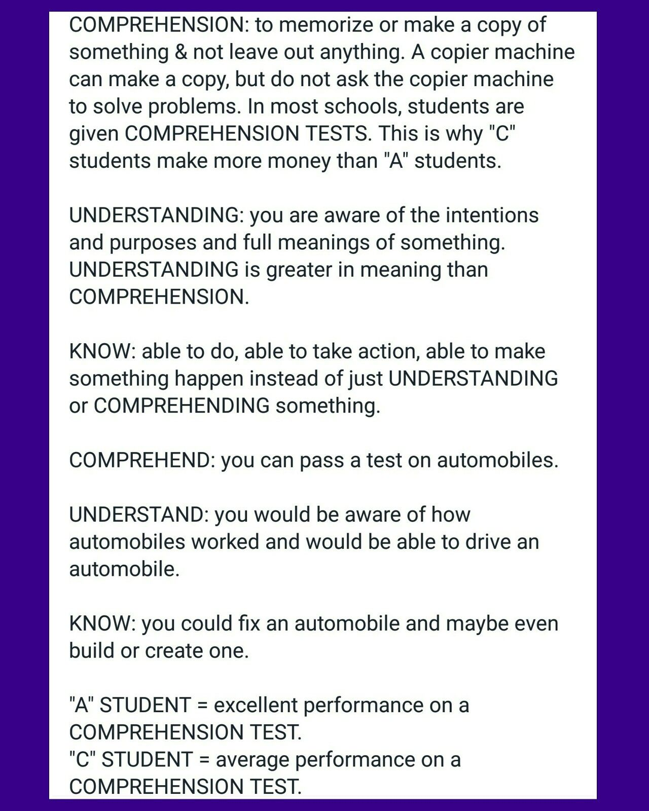 Comprehension Understanding Know Definitions Showing The Danger To America From Commoncore A Mad D How To Memorize Things Make More Money Comprehension