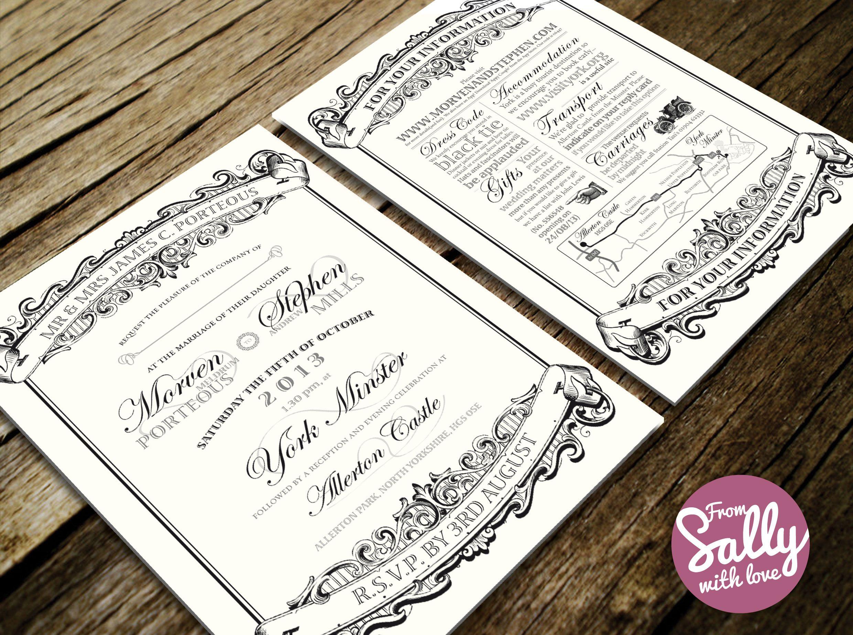 Bespoke Wedding Invitation for Morven and Stephen who had an elegant ...