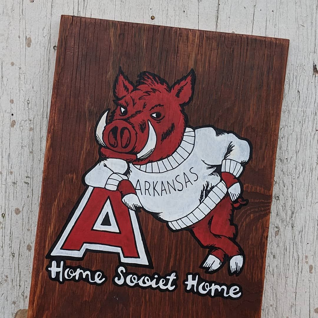 Vintage Arkansas Razorback Home Sooiet Home Wall Art Sold Local Pu Or Shipped Typeaf Razorback Painting Painted Wood Walls Painting