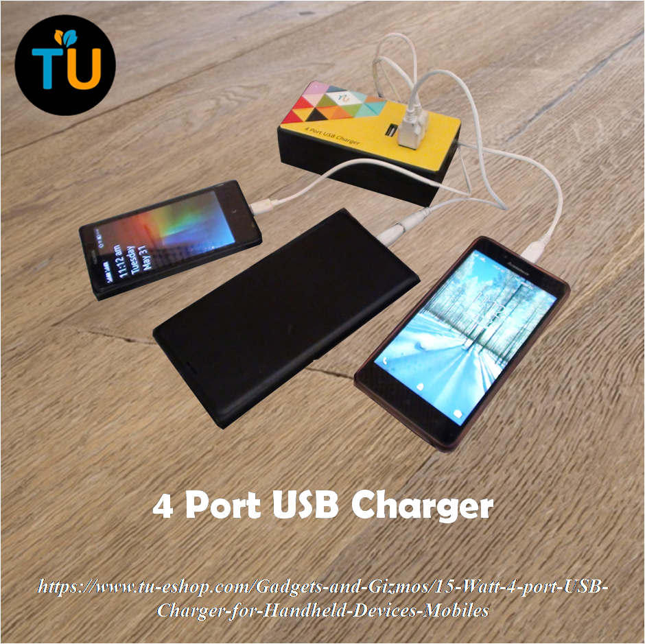 Use the handy 4 port USB Charger to charge up to four devices like phone, tablet, digital camera, power bank simultaneously.