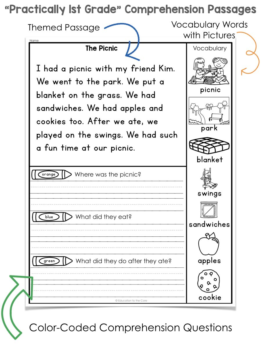 Practically 1st Grade\ Reading Comprehension Passages and Questions    Education to the Core   1st grade reading worksheets [ 1200 x 900 Pixel ]