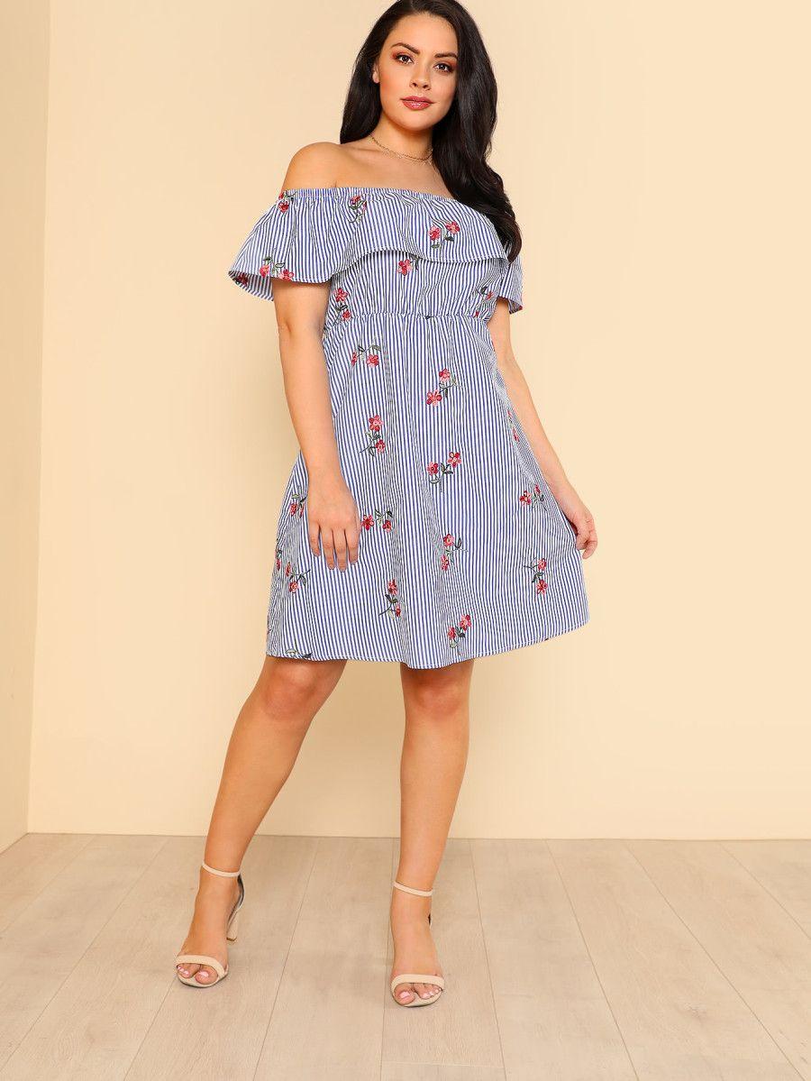 4270d05e8f Flower Embroidered Striped Flounce Bardot Dress -SheIn(Sheinside ...