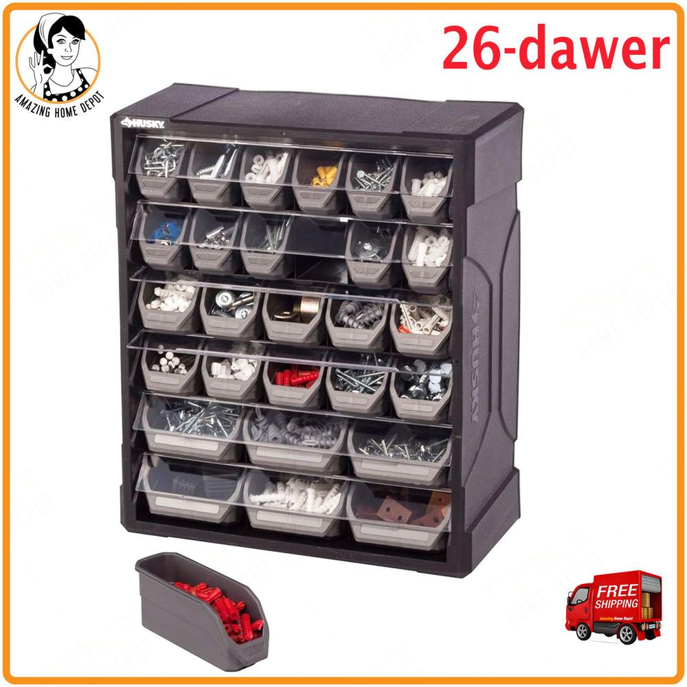 Small Parts Organizer 28 Drawer Plastic Cabinet Heavy Duty Tool