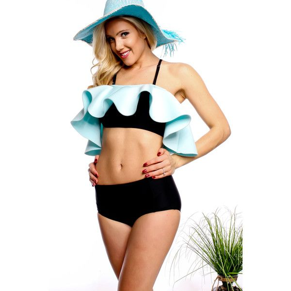 Black mint ruffled spaghetti strap hi waist bottoms two piece swimsuit (£15) ❤ liked on Polyvore featuring swimwear, bikinis, blackmint, swimsuit swimwear, flounce bathing suits, bathing suits bikini, two piece swimsuits and mint bikini