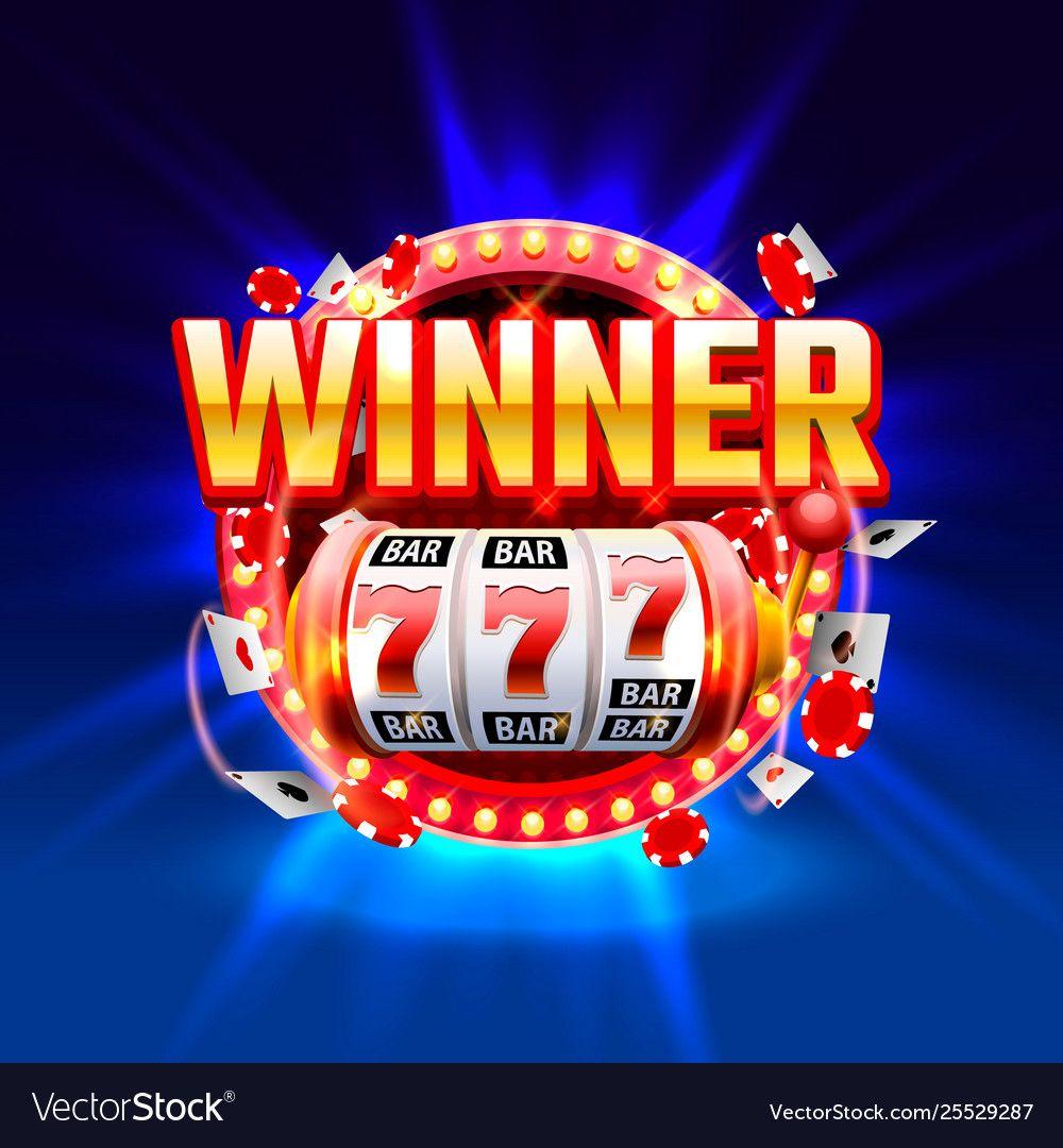 Casino winner slots 777 banner show frame label Vector