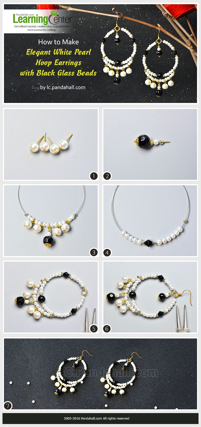 How to Make Elegant White Pearl Hoop Earrings with Black Glass ...