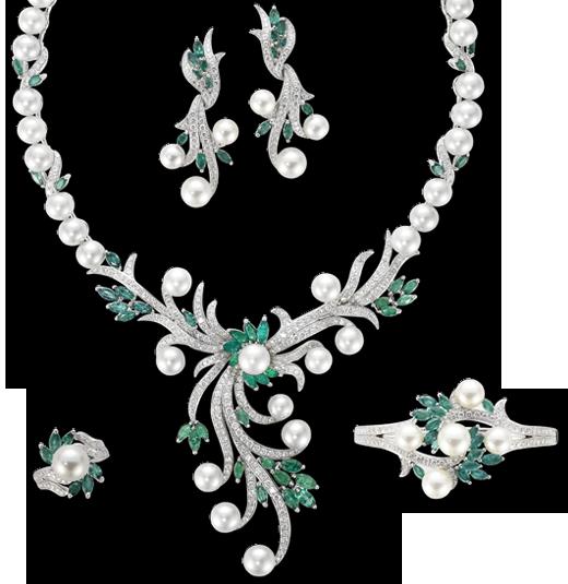 Emerald Diamond Jewellery: Diamond Emerald Pearl Jewellery Set From Mouawad (Flower