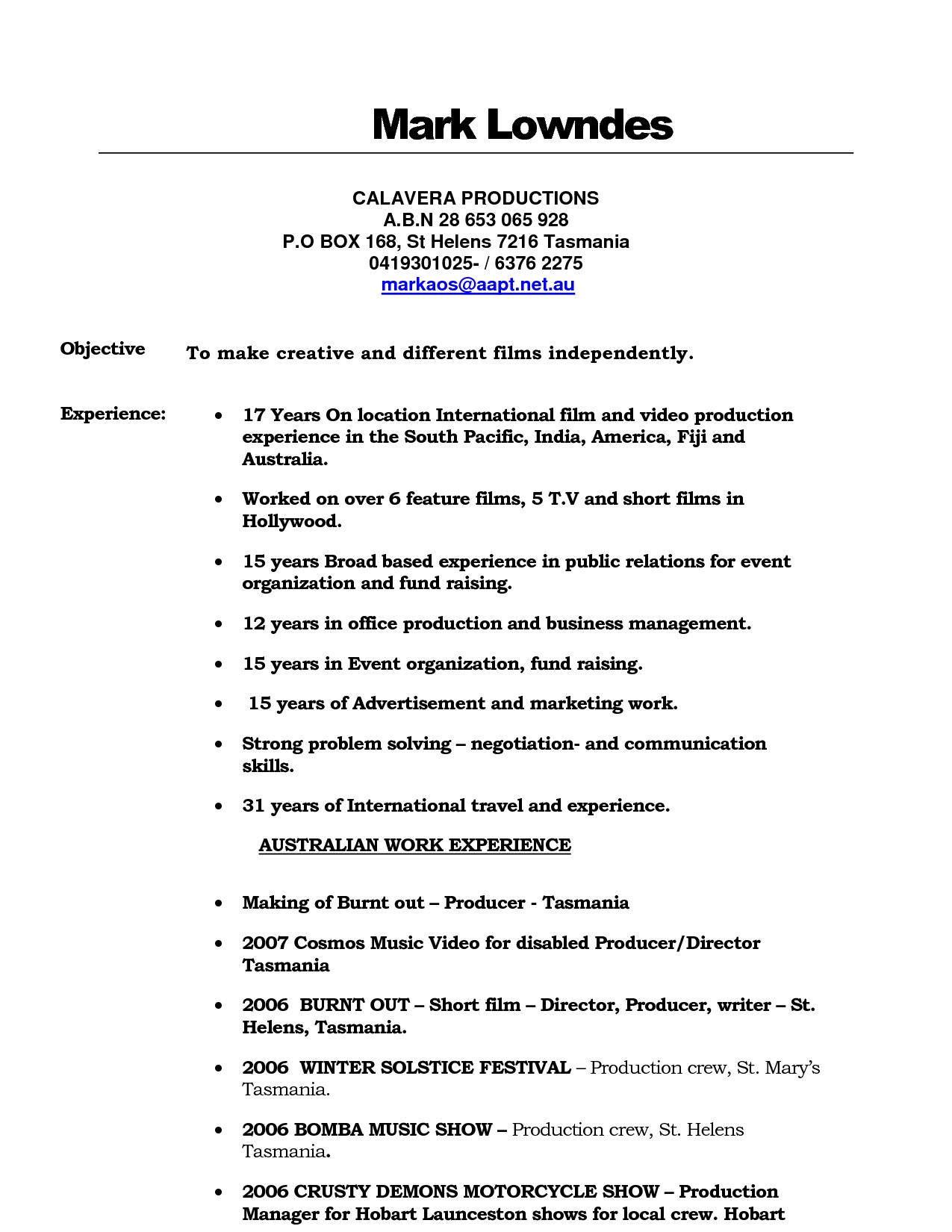 Marvelous Film Production Resume With Tv Production Resume